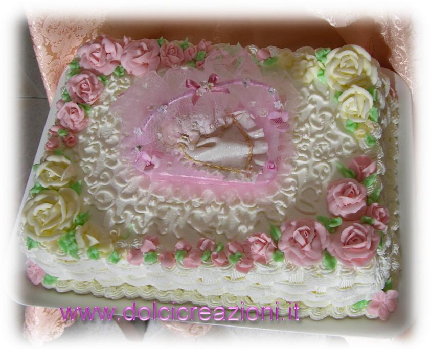 Dolci Creazioni by Carla Torta di Battesimo con rose in Crema di Burro e  Topper in gum paste