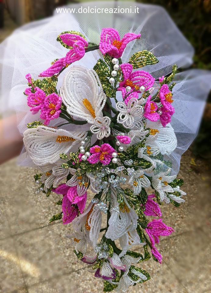 fiori di perline  bouquet sposa