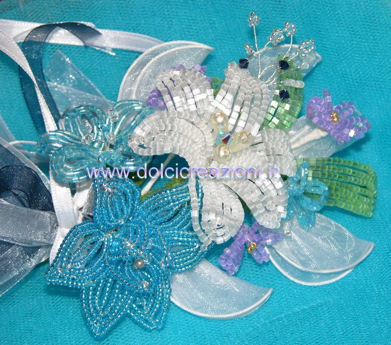 Con perline in fibra di vetro satinate stessa tecnica perline lucide