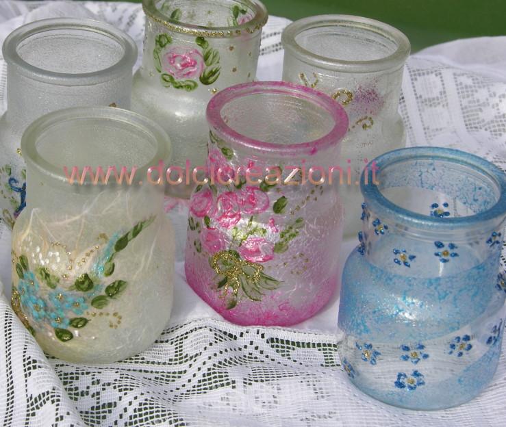 Vasetti di vetro decorati a mano - Vasi decorati fai da te ...