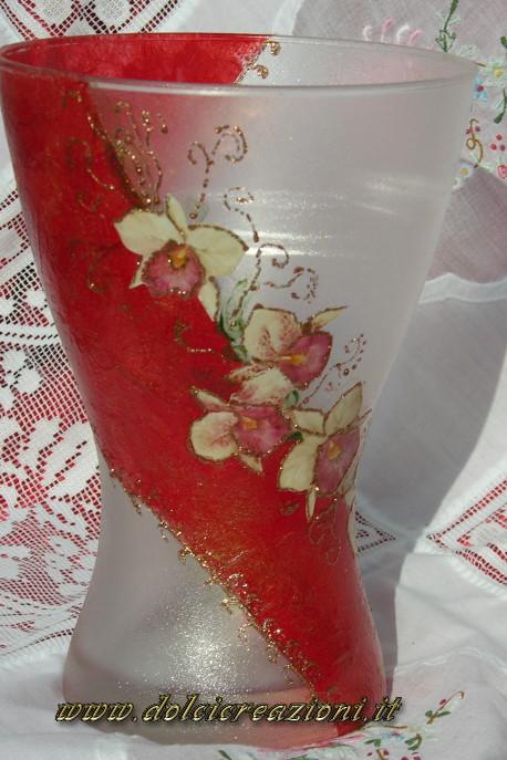 Vaso decorato con decoupage decoglass volume effetto frost for Decoupage su vaso di vetro