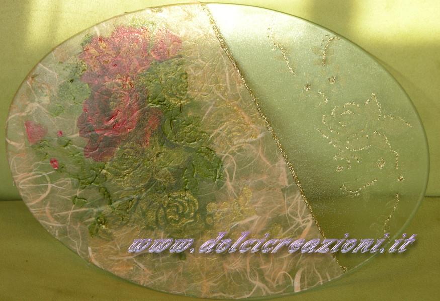 Vaso decorato con decoupage decoglass volume effetto frost - Piatti di frutta decorati ...
